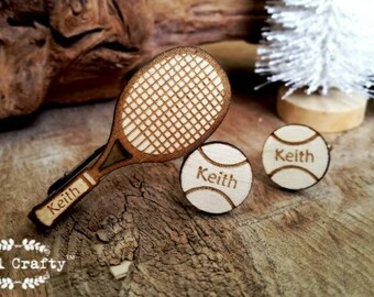 Tennis racket tie clip tennis ball Cufflinks racquet Dad Grooms Best man Groomsman Rustic Wedding Birthday Gift Personalized Cuff links