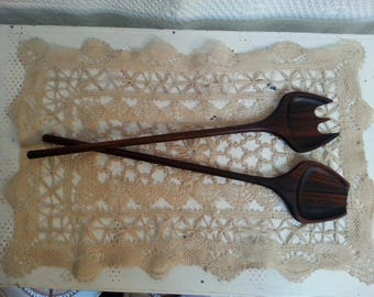 Vintage mid-century modern teak salad serving set spoon and fork