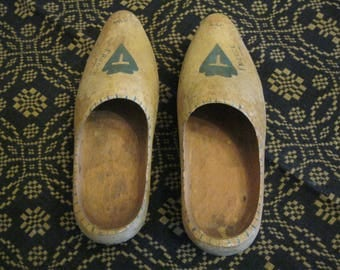 """Pair of Vintage Wooden Shoes with """"France"""" Decoration,  Wood Shoes for Altering, Vintage Hand Carved """"French Country"""" Wooden Shoes"""