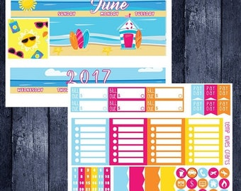 On Sale June Beach Monthly Stickers for HAPPY PLANNER