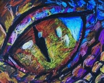 Dragon eye pastel drawing.