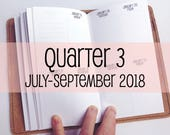 Traveler's Notebook PERSONAL Size Week on Two Pages in VERTICAL Layout {Q3 | July-September 2018} #700-33