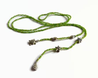 Seed bead lariat, lime green Y-necklace, beaded lariat, bohemian lariat, beach jewelry