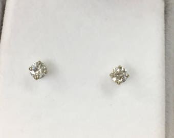 Diamond stud earrings 14k white gold .40 carats