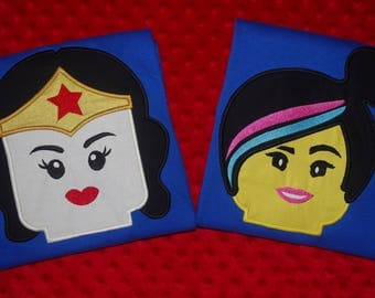Lego Appliquéd Shirt- Family Vacation Shirt- Spiderman, Ninja, Wonder Woman, WyldStyle, Superman, Captain America