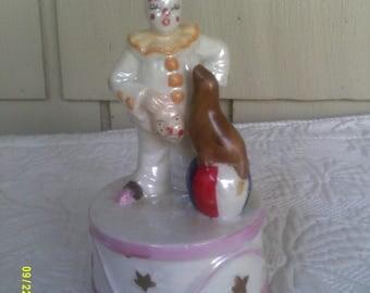 Vintage Porcelain Revolving Musical Clown with Seal, by Aldon 1984, Clown Music Box, Clown Figurine, Luster Ware Clown