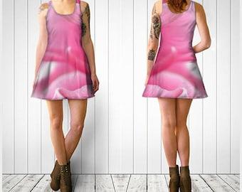 Flare Dress, Skater Dress, Teen Clothing, Pink dress, Reversible dress, Flower Flare Dress, Floral Skater Dress, Spandex Mini Dress