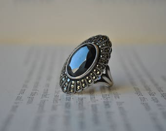 Vintage Sterling Marcasite Ring - 1970s Sterling Cocktail Ring