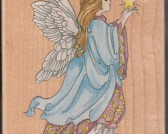 Celestial Angel Rubber Mounted Stamp Stamps Happen #80020  Unused
