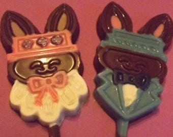 Mom and Dad Easter Bunnies Chocolate Candy Lollipops