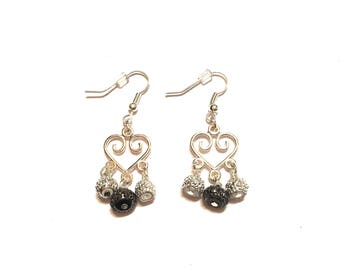 Dangle earrings. Handmade. Silver and black.
