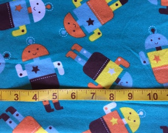 Cotton Flannel  - Robots on Teal - for Quilting Sewing Crafts
