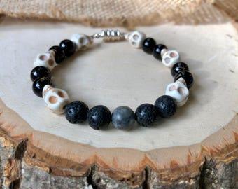 Lava & Skull Bead Bracelet, lava stone bracelet, essential oil