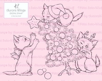 Digital Stamp - Christmas Kittens - Instant Download - digistamp - Holiday Animal Line Art for Cards & Crafts by Mitzi Sato-Wiuff