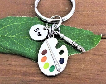 ART PAINT PALETTE keychain w initial charm and paintbrush - gift art teacher - gift artist - One flat rate shipping in my shop :)