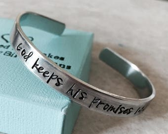 Sale SALE God keeps his promises personalized cuff bracelet encouragement gift faith remembrance monogrammed gift custom religious helping o