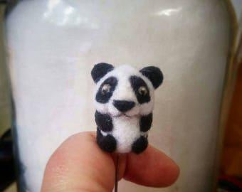Tiny micro miniature needlefelted critter,  a wool panda