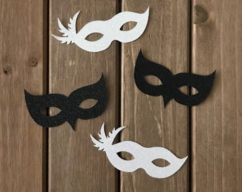 12 pcs Masquerade Mardi Gras Masks - Glitter Die Cut/Party Decoration /Embellishment/Table Scatter/Cupcake Topper - Black and White