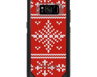 OtterBox Commuter for Galaxy S4 / S5 / S6 / S7 / S8 / S8+ / Note 4 5 8 - CUSTOM Monogram - Any Colors - Red White Ugly Christmas Sweater