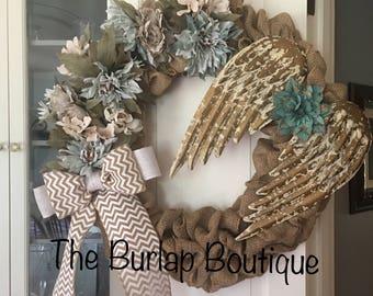 Large Angel Burlap Wreath