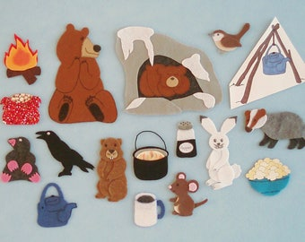 Bear Snores On Felt Board Story/Felt Board Stories/Flannelboard Stories/Felt Stories/Bear Theme/Felt Animals/Hibernation/Teaching Resource/