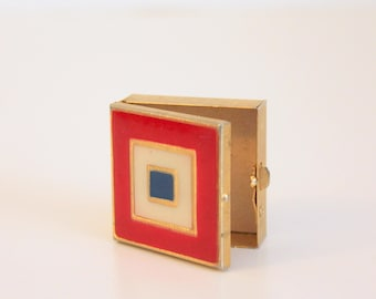 Vintage Pill Box, Pill Boxes, Enamel and Brass Pill Box, Square Pill Box, Tiny Metal Box, Small Brass Box,