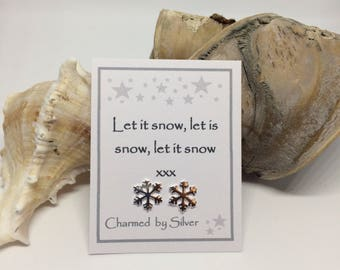 Sterling Silver Snowflake stud Earrings with a Message