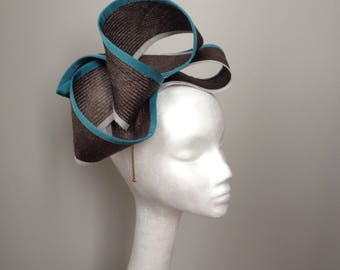 Mylee - a playful taupe fascinator with teal and grey accents