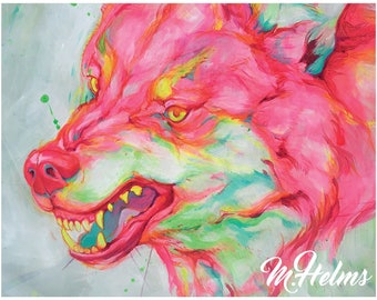 Print or Note Card: Neon Wolf (Rage)