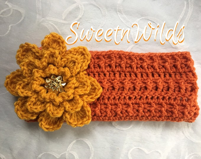 Crocheted Headband-Big Flower-Earwarmers -Womens accessories -Mens Headbands -Fall Hats-Children's Winter Wear-Christmas gift ideas