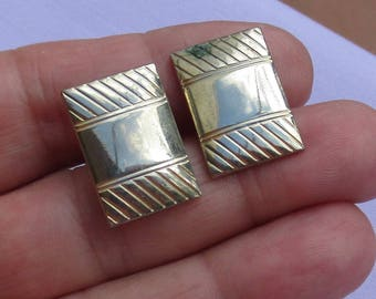 Vintage Metal Cuff Links Rectangular Verdigris TLC