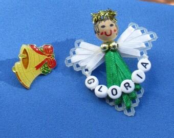 Lot Of Retro Christmas Pins Angel Gloria Christmas Bell Lapel Pin