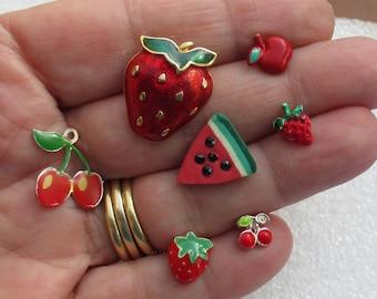 Lot Of Retro Colorful Fruit Themed Single Odd Earrings Pendant  No Backs