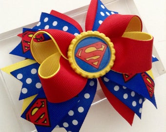Superman Boutique Hair Bow, Superman Birthday Hair Bow, Supergirl Hair Bow, Super Heroes Hair Bow!