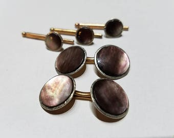 Art Deco Gold Filled Heller Abalone Cuff Link and Tuxedo Stud Set
