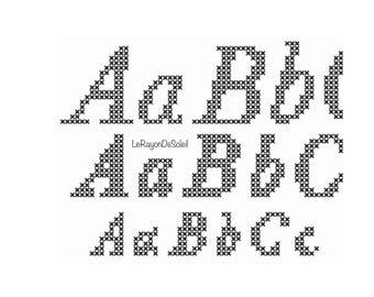 3 sizes cross stitch alphabet font Baskerville, PDF Instant download