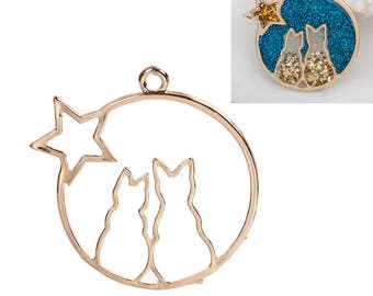 "2 Star CATS Gold Plated Pendant - Cat Pendant for Necklace Or Resin -  42MM 1 5/8""  Cats Charm"