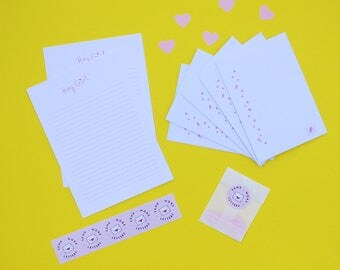 Snail Mail Letter Writing Set - Hey Girl (with or without stamps!) - Writing Paper - Letter Set - Best Friend - Pen Pal - Girl Gang -