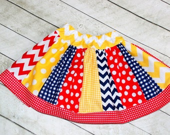 red navy yellow skirt Birthday skirt for girls rodeo skirt cowgirl skirt farm birthday skirt gingham chevron polka dot skirt back to school