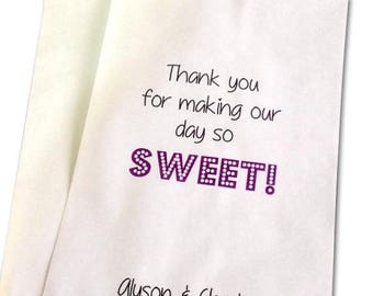 ON SALE Personalized Wedding Favor Bags, Candy Buffet Bags, wedding favor bags, treat bags, kraft bags