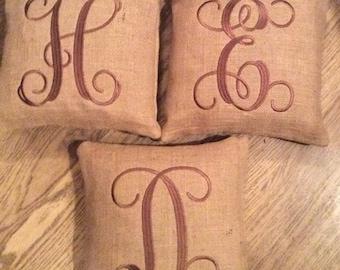 SALE Burlap Monogrammed Pillows
