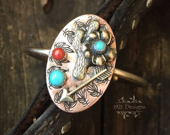 Cactus flower turquoise and coral cuff