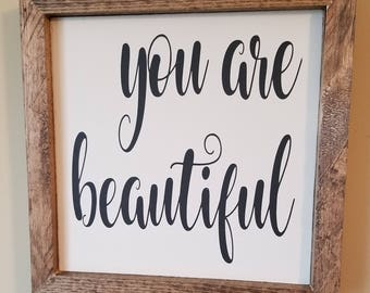 8x8 Reclaimed Wood Sign/Plaque - You are Beautiful