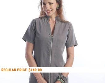 Light gray summer dress - day dress -  gray short sleeves dress - zip dress - mini dress -  urban dress