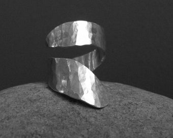 """""""spiral tape"""" Sterling Silver hammered Adjustable ring"""