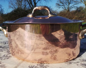"French Copper Pan Copper Pot Dutch Oven Casserole Lid 2mm Faitout Oval Pot 20 cm 8"" Copper Stock Pot Copper Kitchen Casserole Good Tin 6217"