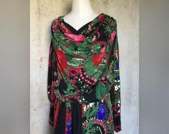 1970s Printed Silk Jersey Dress by Leonard * 1970s Vintage Designer