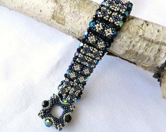 Sparkling Crystal Bracelet w/ Fire Polished Jet  Beads Black Blue Shimmering Tasteful OOAK Bracelet Two Sided Handmade RAW Bangle For Her