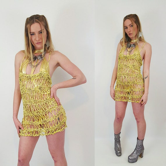 HANDMADE Sheer Knit Tank Dress- Womens Small Yellow Grunge Mini-Open See Through Eco Friendly Sleeveless Spring Summer Fashion Mini Dress