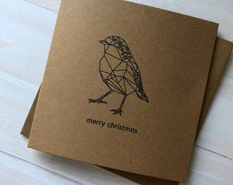 Geometric Robin // Festive Bird // Christmas Card // Original Design // Kraft